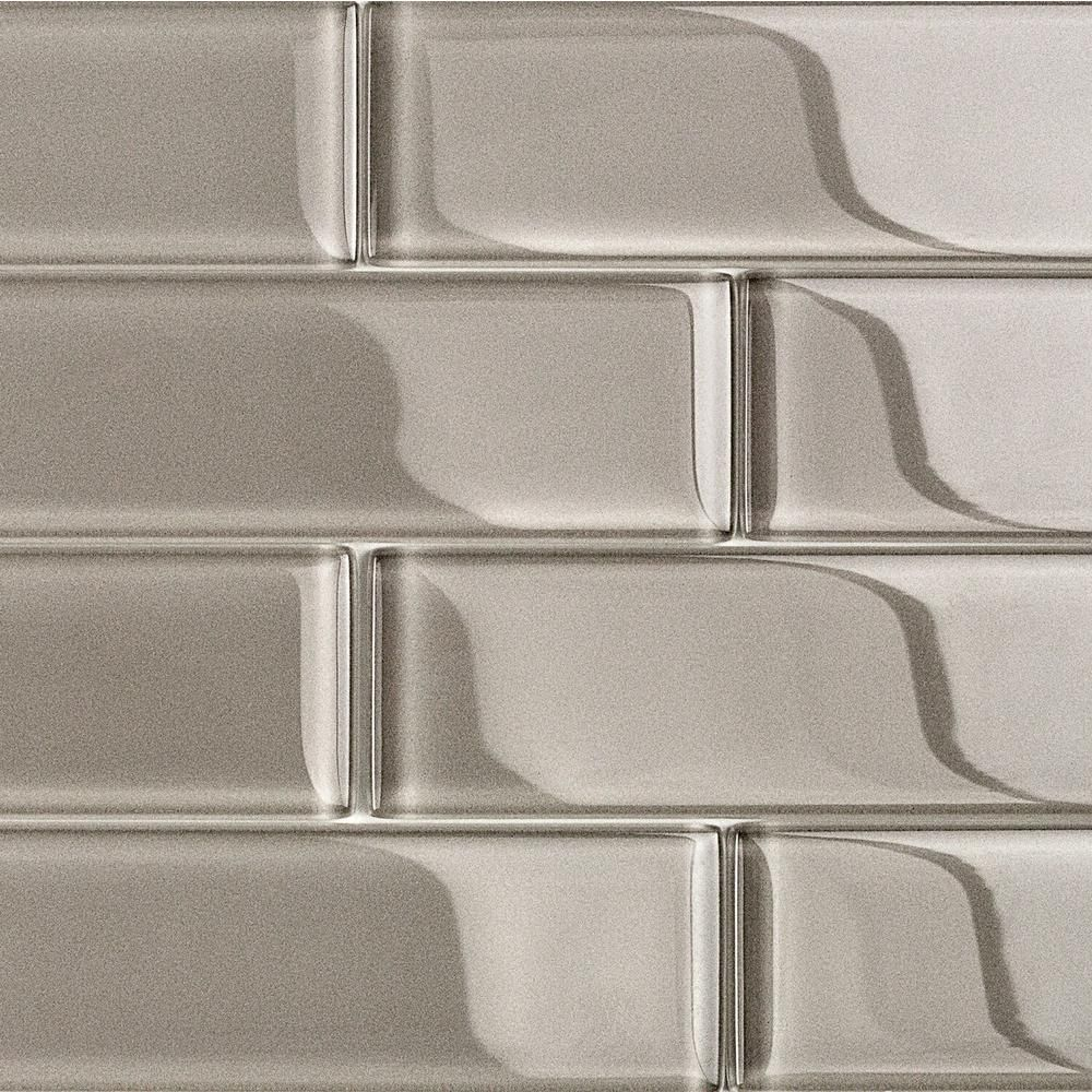 Ivy Hill Tile Contempo Taupe 2 In X 8 In X 8mm Polished Glass Floor And Wall Tile 1 Sq Ft Crys Glass Floor Glass Subway Tile Backsplash Glass Subway Tile
