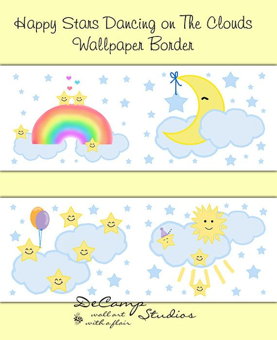 Cloud, Moon, and Stars Wallpaper border wall decals for baby girl or ...