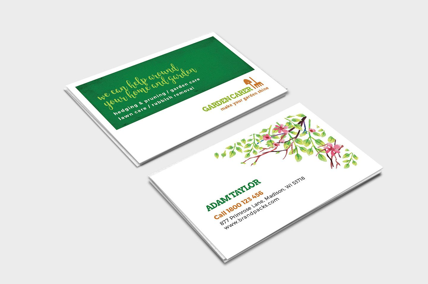 Gardener Business Card Template In Psd Ai Vector Brandpacks Intended For Gardening Business Ca Business Card Template Card Template Business Plan Template