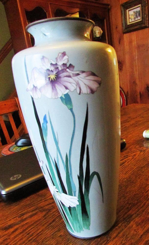 Antique Japanese Ando Cloisonne Enamel Light Bluish Gray Floral