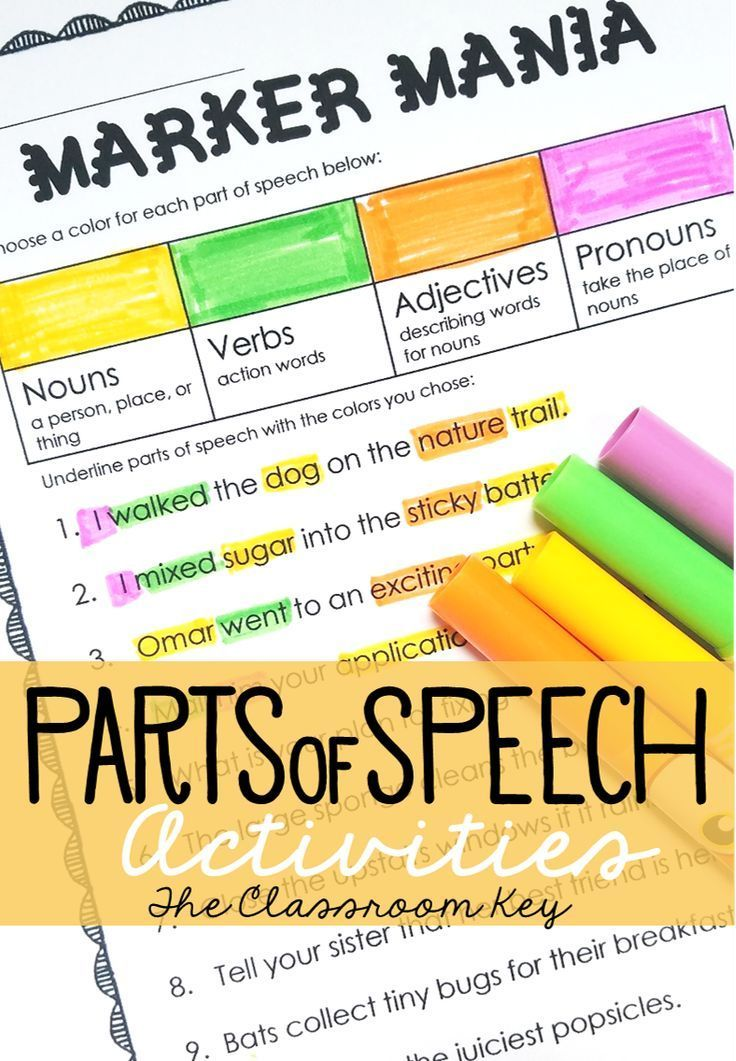Parts of Speech Practice Activity or Center Parts of