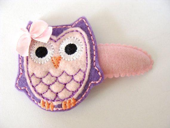 Felt Owl Hair Clip Owl Hair Clippie Snap Clip door GracefulbyAnna