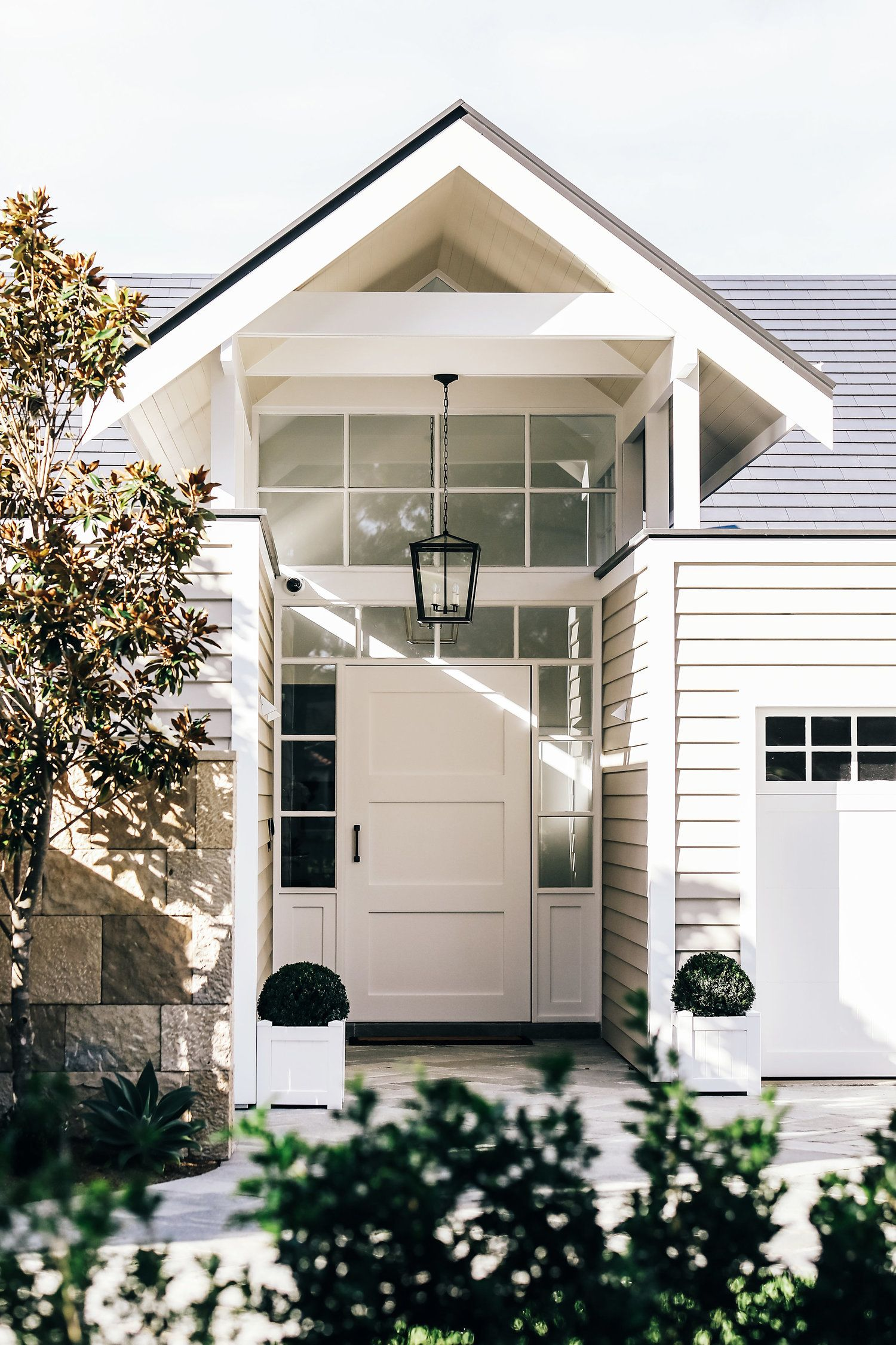 Hamptons Style Entrance Of Luxury Home In Sydney After A Full Renovation Hamptons House Exterior House Exterior Hamptons Style Homes