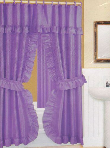 Purple Shower Curtains Purple Fabric Double Swag Shower Curtain