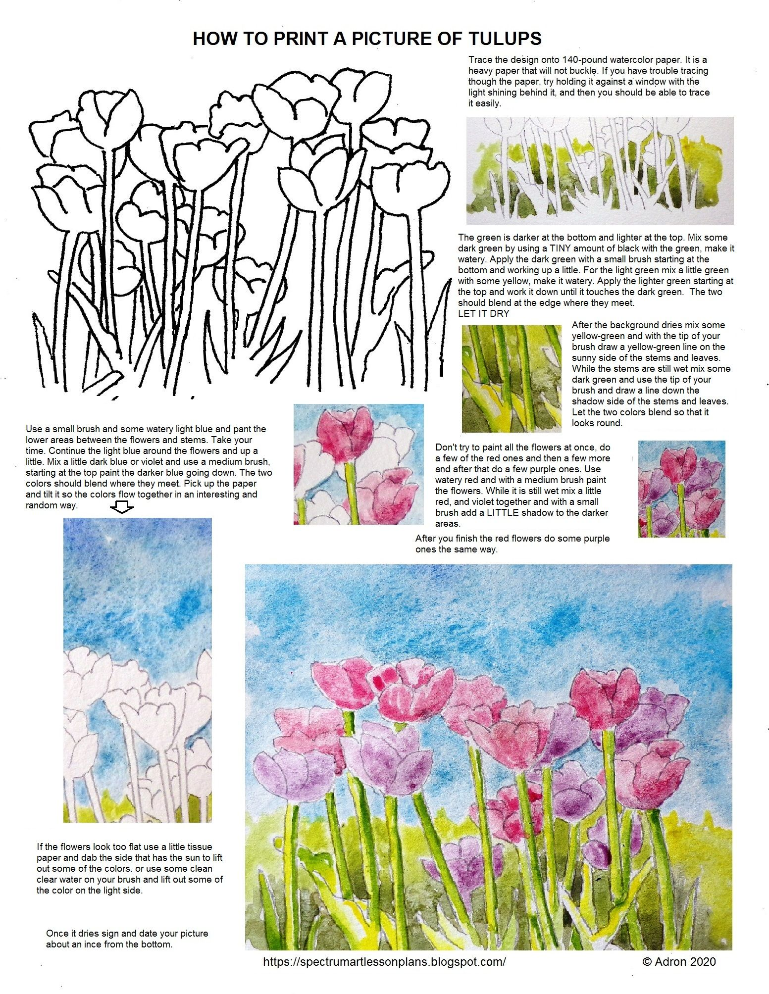 How To Paint Tulips Worksheet In