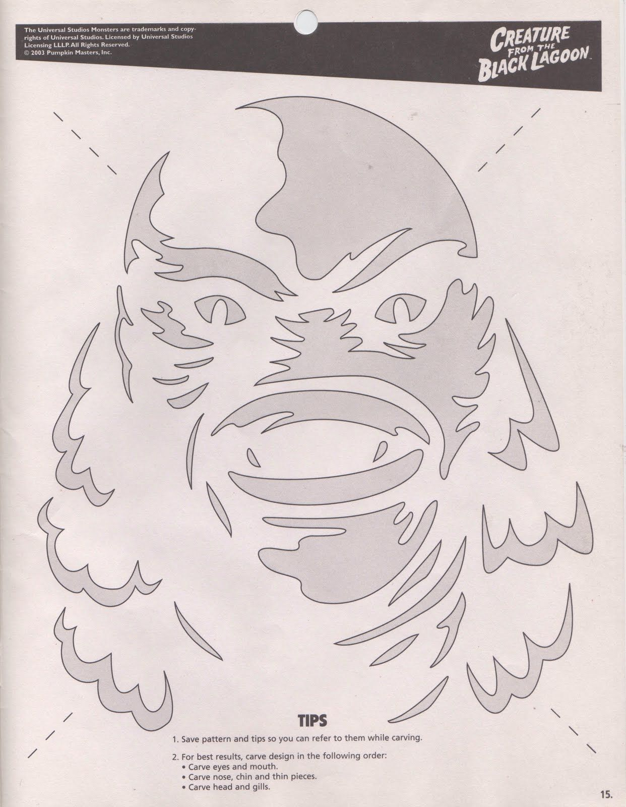 Pumpkin Stencil | Creature From the Black Lagoon | Pinterest