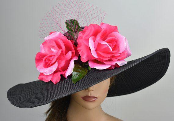 cbbb366bf5395 Black Fuchsia Church Wedding Hat Head Piece Kentucky Derby Hat White Bridal  Coctail Hat Couture Fasc