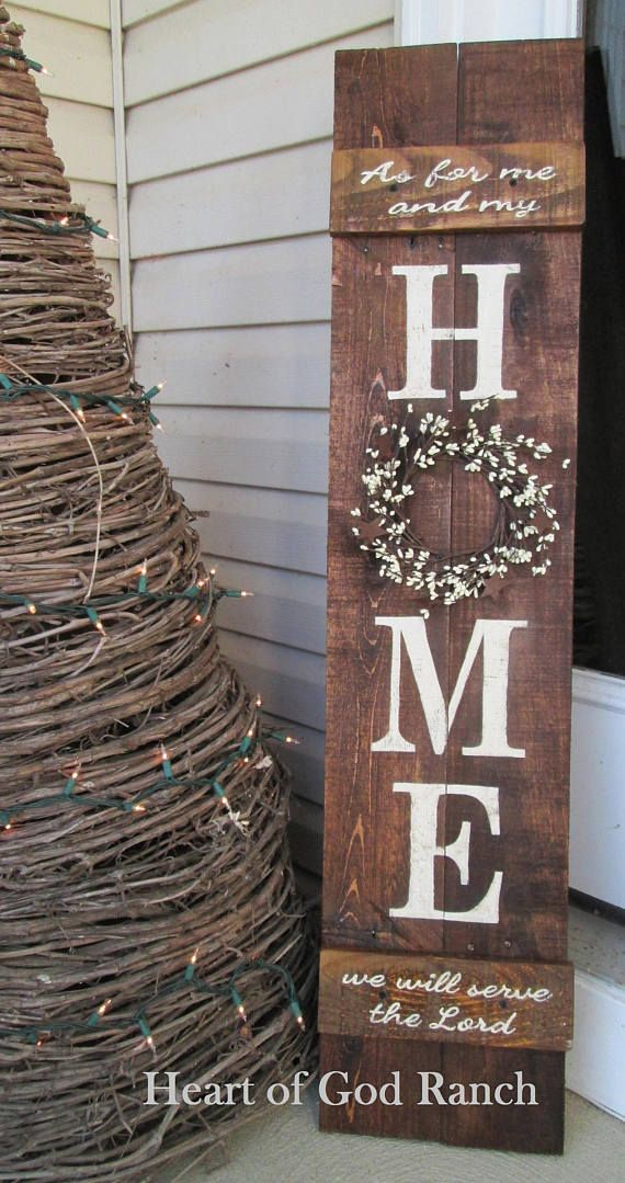 HOME Porch Sign Welcome Wreath Personalized Pip Be