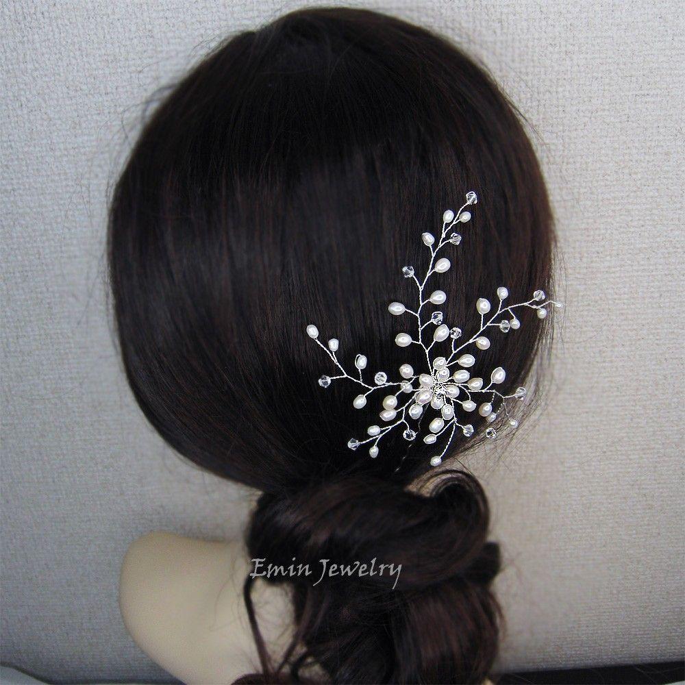 Bridal Hair Accessories, White Fresh WAter Pearls Silver Bridal Hair Pin, Bride Bridesmaids Large WEdding Hair Vine Pins Jewelry Headpiece
