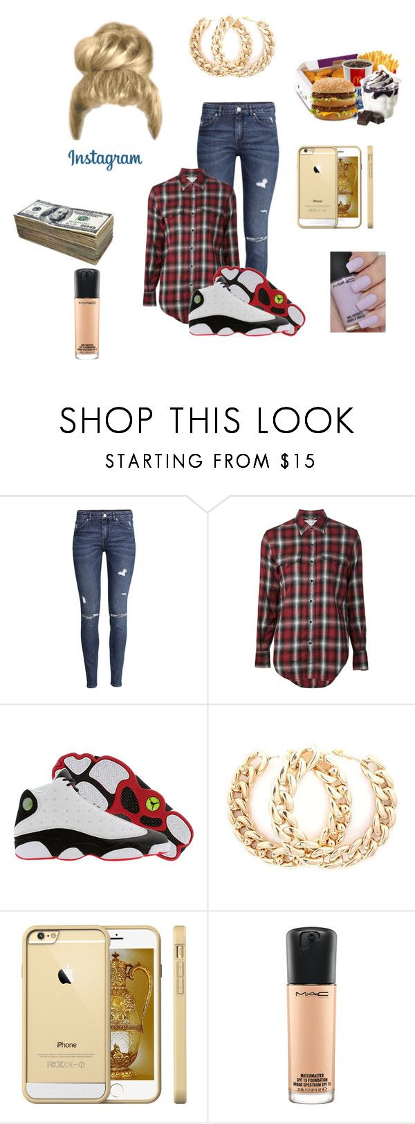 """""""Going to McDonald's"""" by katiedanceever ❤ liked on Polyvore featuring H&M, Yves Saint Laurent, Retrò and MAC Cosmetics"""