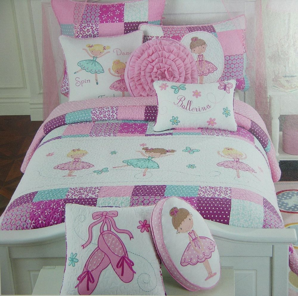 Charles Street Twin Quilted Pink Princess Ballerina Quilt
