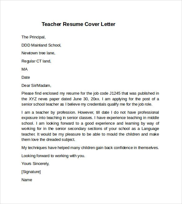 sample example teacher cover letter resume samples examples doc - enclosed is my resume