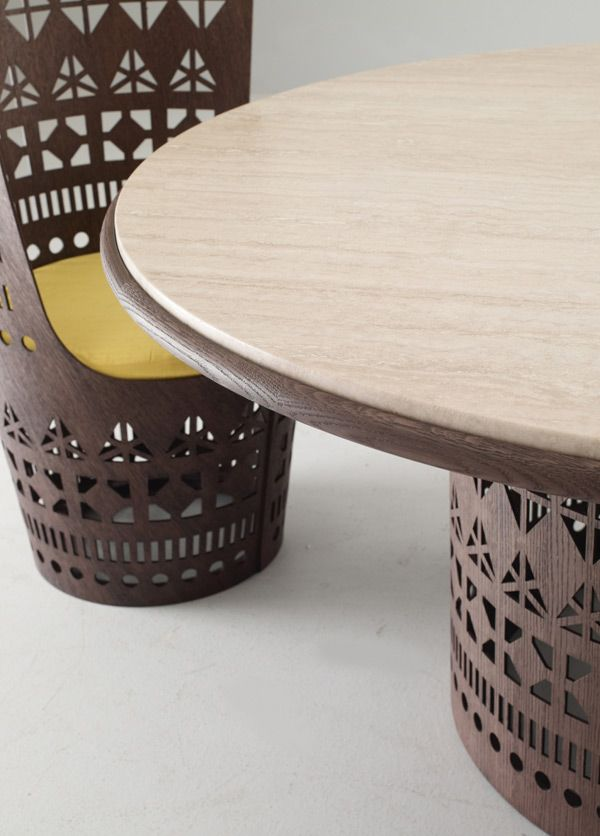 table with a fretted laser cut plywood base and top in wood or rh pinterest com