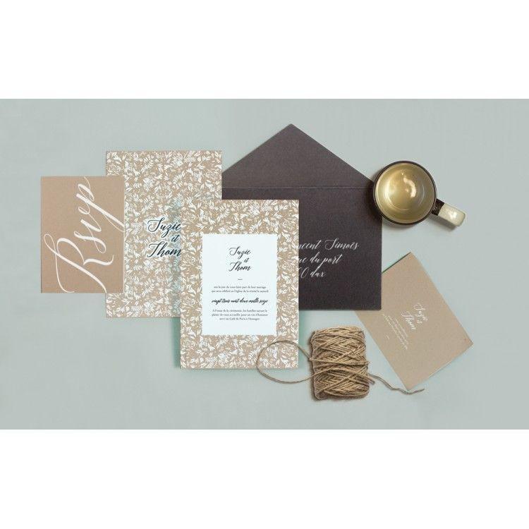 next day wedding invitations%0A Faire Part  Folk Garden  Papier and Co pour Ruban Collectif  Fairepart   Ivory WeddingWedding DayInvitation