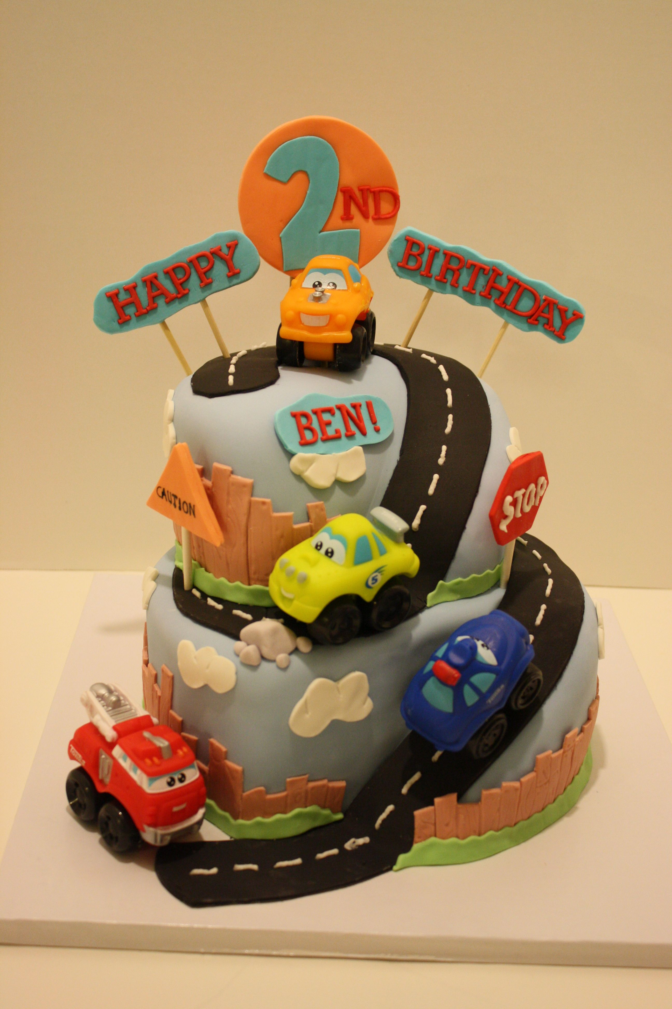 Cars and Trucks Birthday cake Chocolate MMF covered 2tier cake