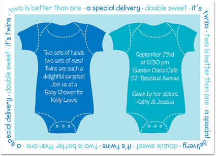 sayings to put on twin baby invitations twin blue onsies baby
