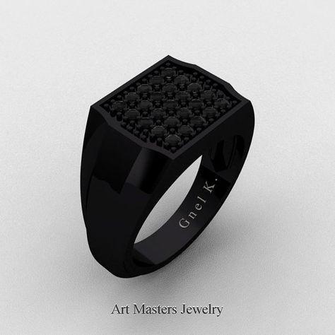 Hombre moderno 14K oro negro Micro Pave negro diamante anillo del diseñador R326M-14KBGBD