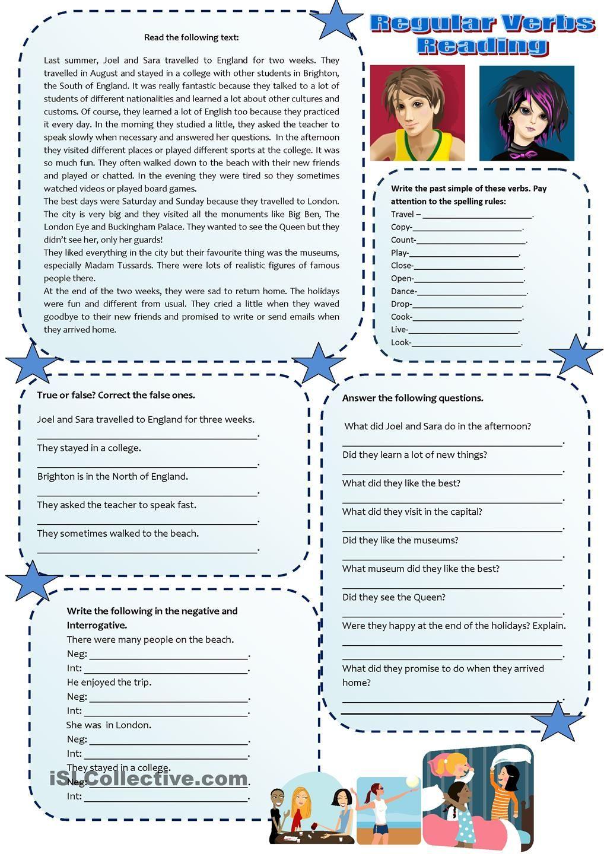 Workbooks simple reading worksheets : Past simple regular verbs reading … | Pinterest