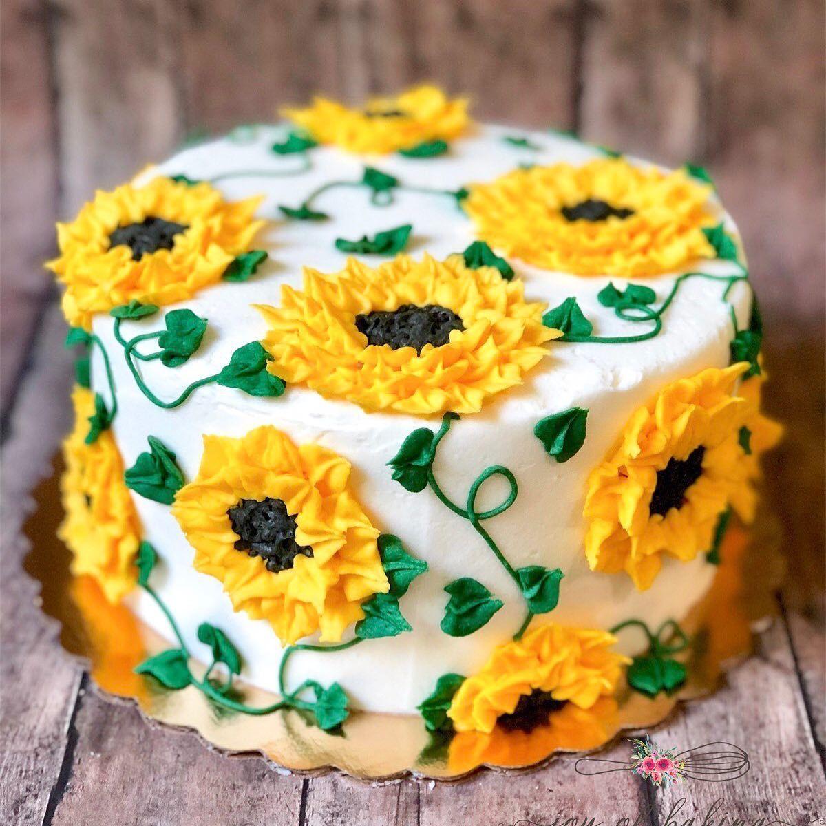 Admirable Sunflower Sunflowercake Cakesofinstagram Cakedecorating Cake Funny Birthday Cards Online Necthendildamsfinfo