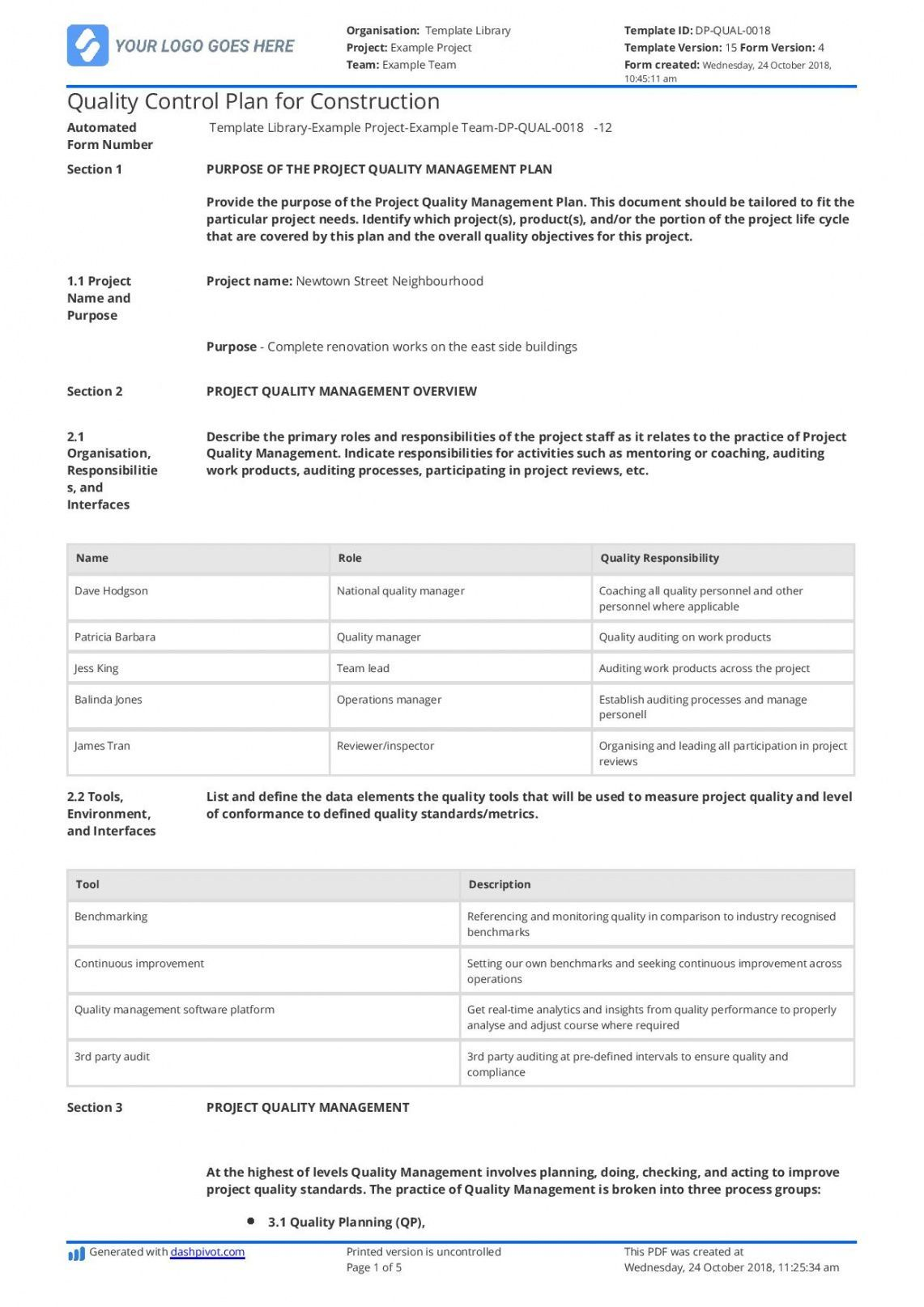 Explore Our Example Of Project Management Quality Management Plan Template How To Plan Business Plan Template Making A Business Plan Construction waste management plan template