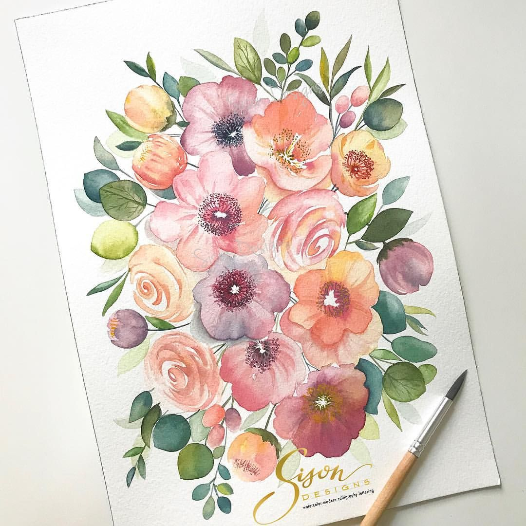 Floral Bunch In Watercolor By Sison Designs Floral Watercolor