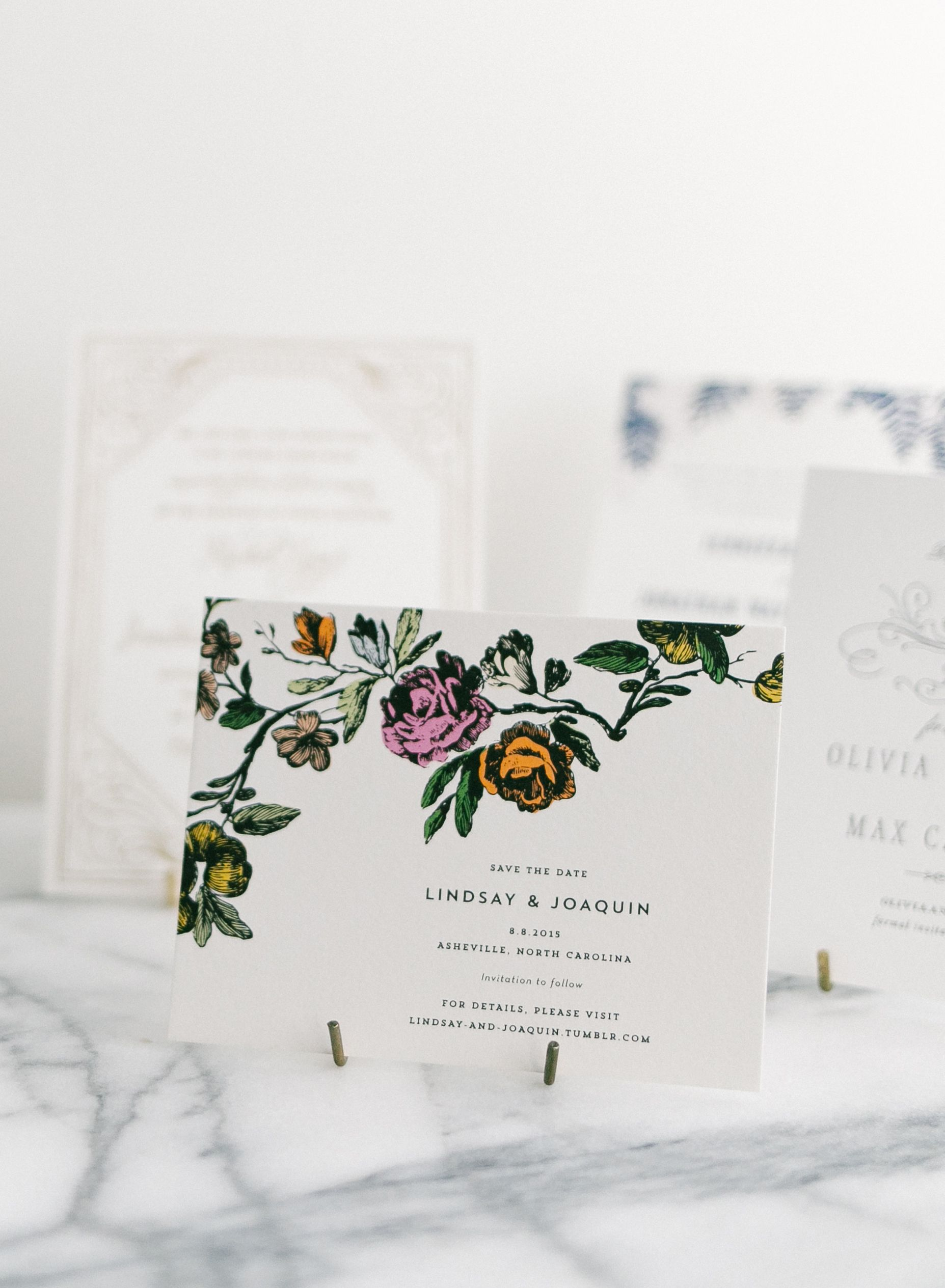Flora botanical save the dates by Hello