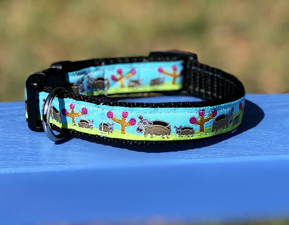 3 4 Inch Xs Small Dog Toy Dog Collar With Momma And Baby Hippos On