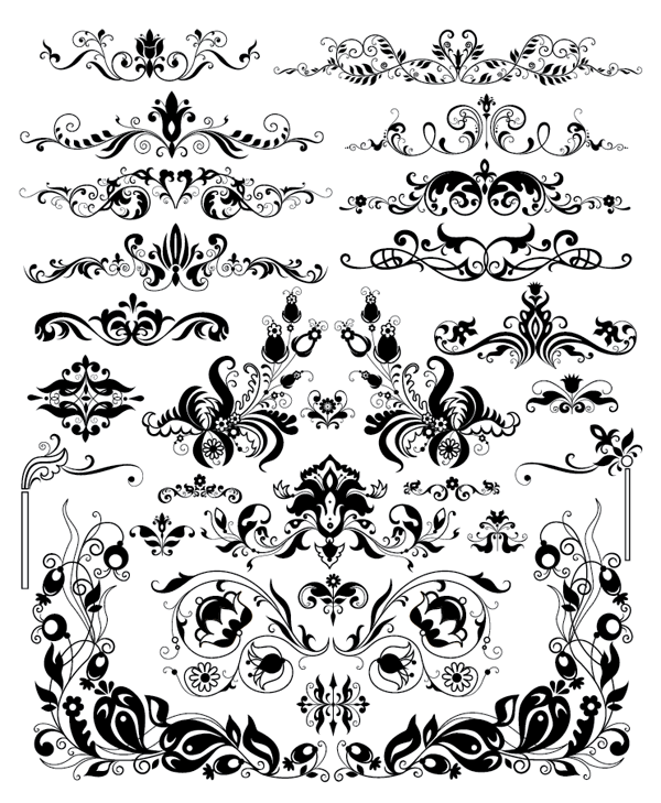 Roundup Of Free Vintage Ornament Floral Vectors Design Elements Vector Shapes Vintage Ornaments