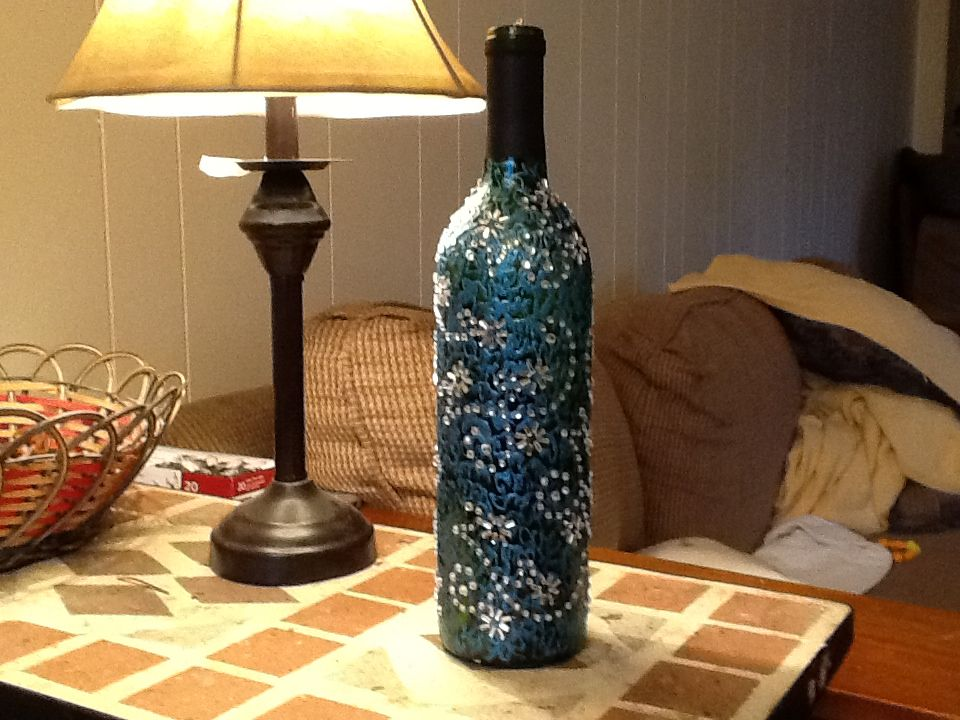 Lighted wine bottle christmas theme crafted using gallery for Martha stewart christmas wine glasses