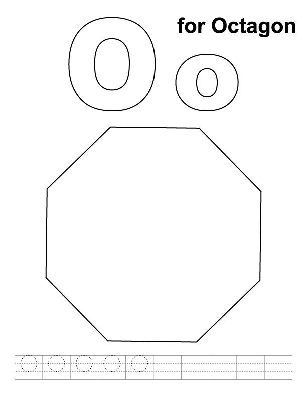 O For Octagon Coloring Page With Handwriting Practice Download