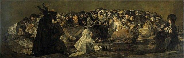 """Francisco Goya, opera anonima detta """"Il sabba delle streghe"""", dalle """"Pinturas negras"""", 1819-23, olio su gesso trasferito su tela. Madrid, Museo del Prado"""