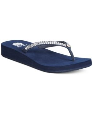 94f0311bae8a54 Yellow Box Jello Rhinestone Flip Flops - Blue 8.5M