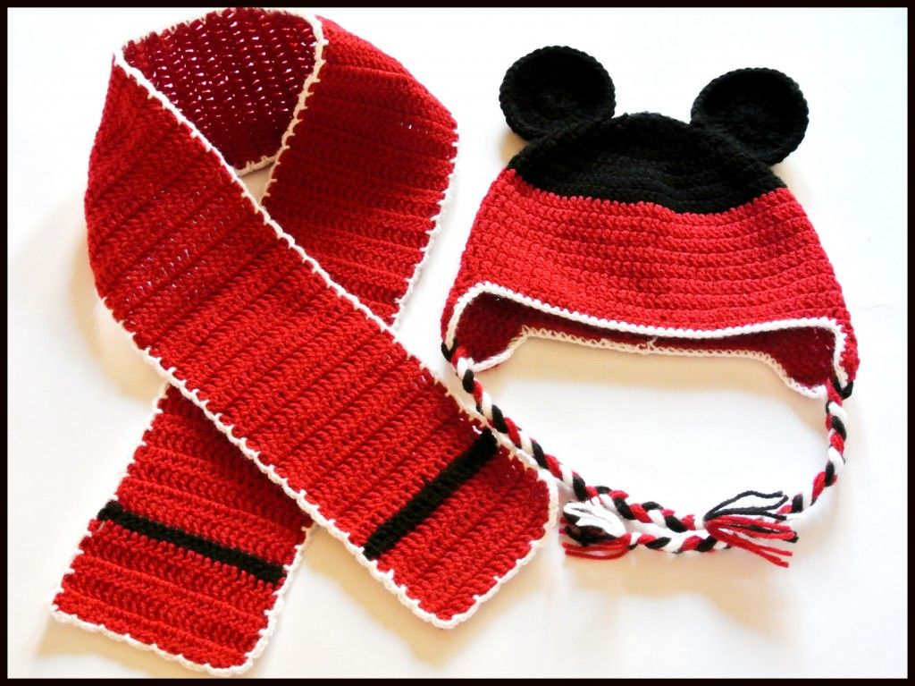 Mickey Mouse crochet hat & scarf | Crochet hats, beanies, earmuffs ...