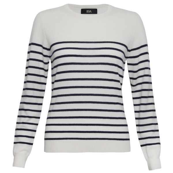 IDA Weekend In Paris Cashmere Knit - Blue and Milk Stripe (235 BRL) ❤ liked on Polyvore featuring tops, sweaters, shirts, blue and milk stripe, shirt sweater, blue striped shirt, summer tops, summer shirts and slim fit shirts