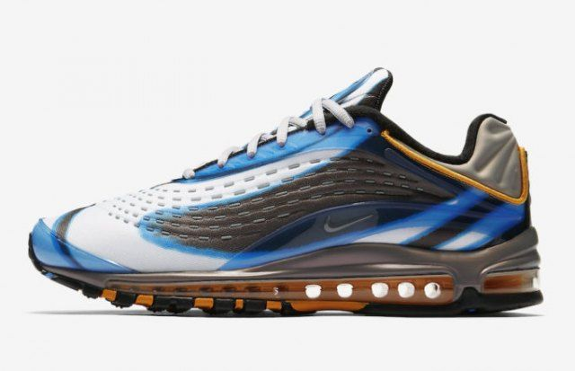 66261d411c Nike Air Max Deluxe 99 Photo Blue Wolf Grey Orange Peel Black AJ7831 401,  It utilizes the same Air Max 97 outsole, but introduced a neoprene fitted  upper ...