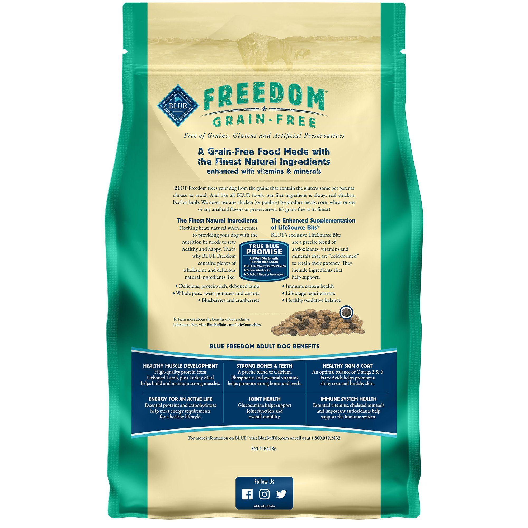 Blue Buffalo Blue Freedom Grain Free Adult Lamb Recipe Dry Dog