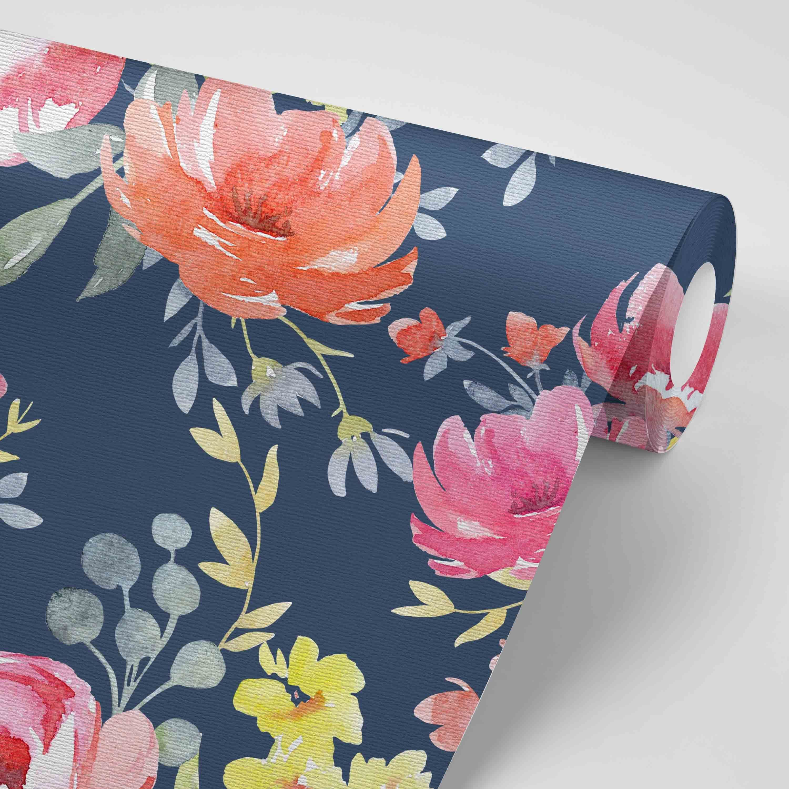 Navy Midnight Floral Removable Wallpaper Watercolor