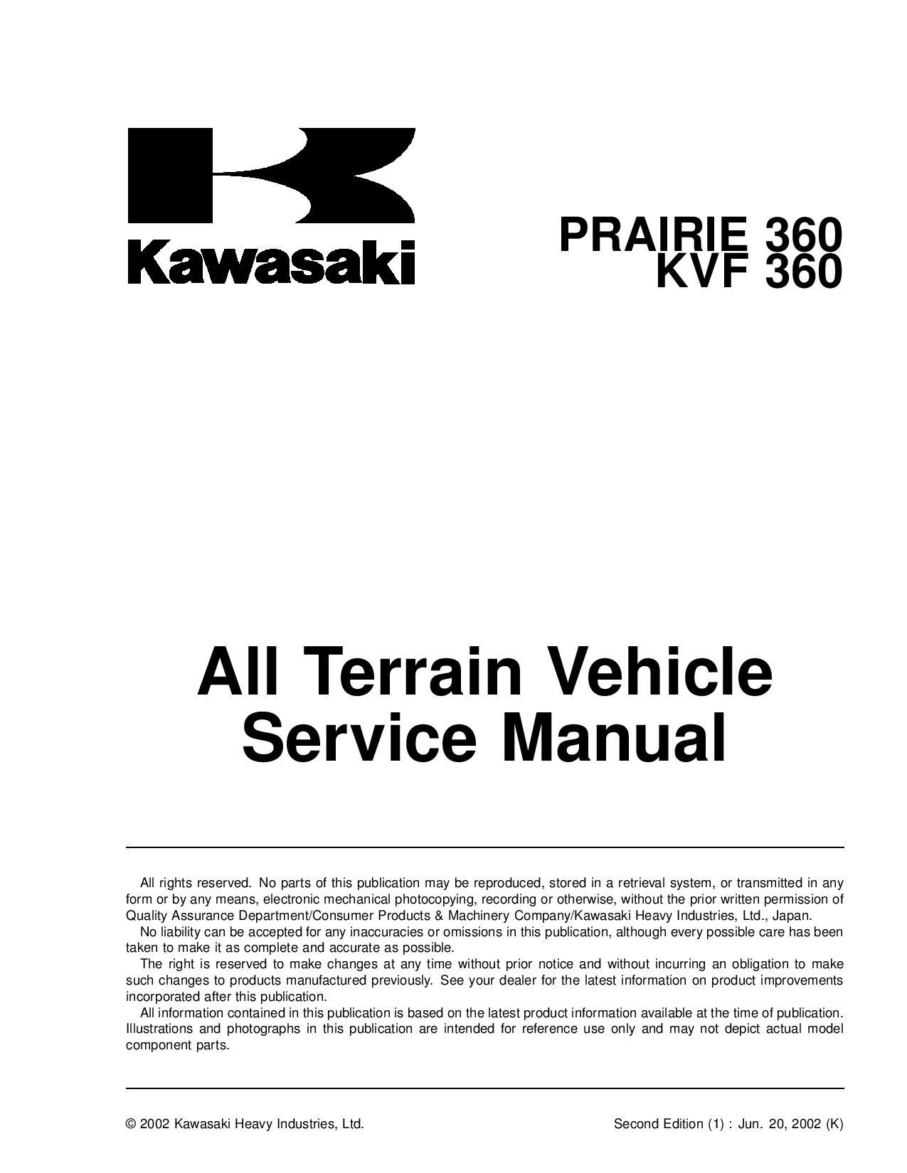 Kawasaki Kvf 360 Prairie 360 2003 Repair Manual Pdf Download Service Manual Repair Manual Pdf Download Repair Manuals Manual Repair And Maintenance