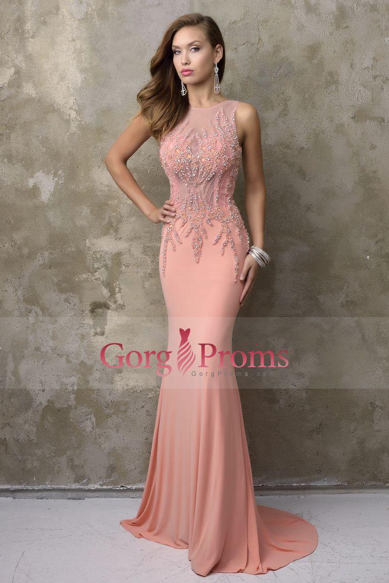 seethrough prom dresses scoop beaded bodice spandex mermaid