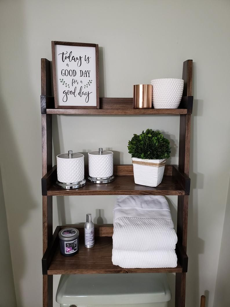 Over The Toilet Ladder Shelf With Images Small Bathroom Decor Over The Toilet Ladder Ladder Shelf