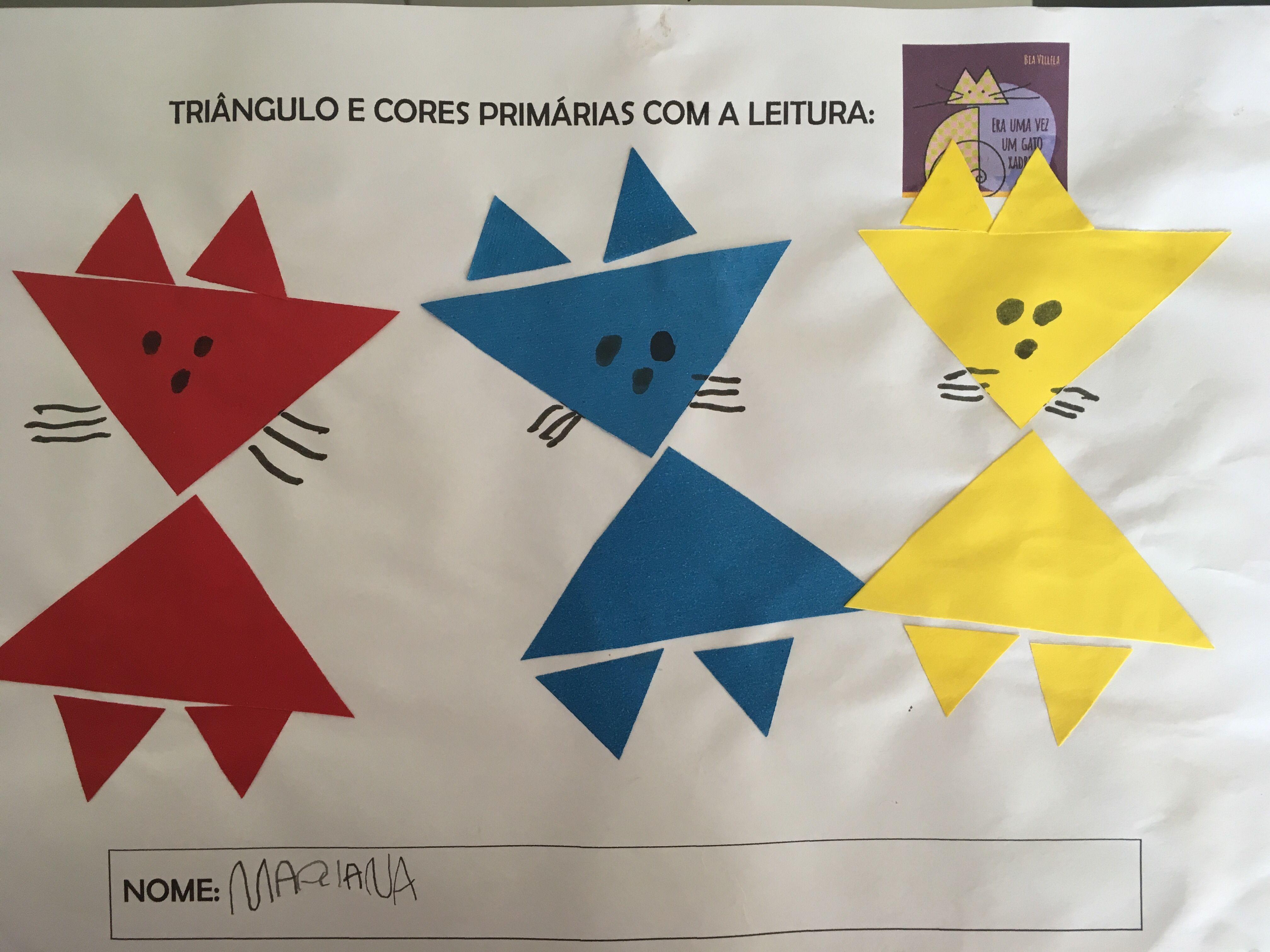 Atividade De Colagem De Triangulos Nas Cores Primarias Apos A