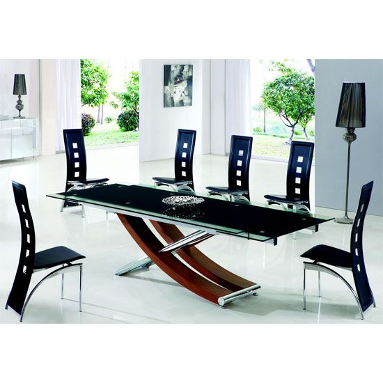 xena walnut extending glass dining table and 6 manhattan chairs rh pinterest com