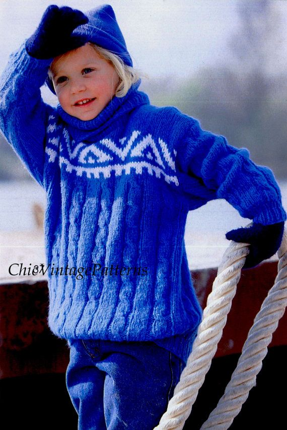 Knitted Children's Sweater ... Norwegian Style Jumper ... PDF Knitting Pattern ... Jacquard Yoke ... Fits 110/116cms ... Instant Download