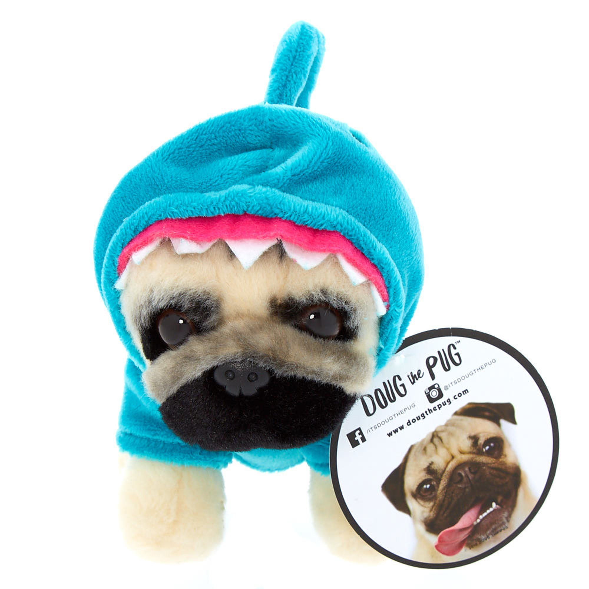 Doug The Pug C Small Shark Plush Toy Turquoise Shark Plush