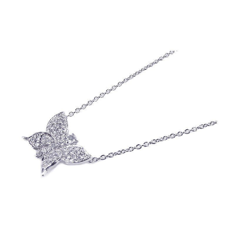 .925 Sterling Silver Rhodium Plated Clear Cubic Zirconia Butterfly Pendant Necklace 18 Inches