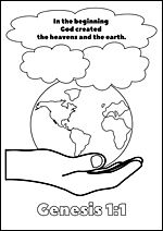 FREE printable Bible colouring pages for kids: Genesis 1:1