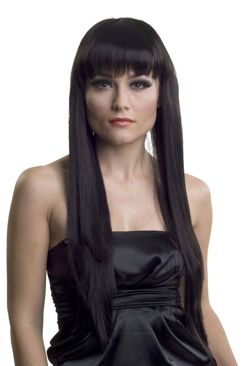 Very Long Straight Women\u0027s Black Wig With Bangs