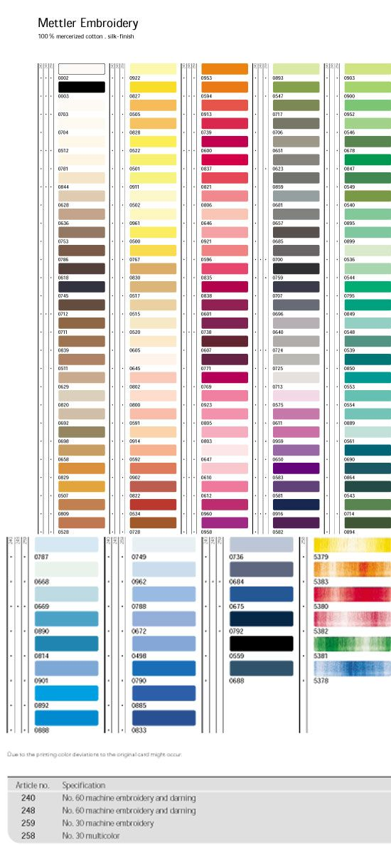 Mettler Embroidery Thread Color Chart Heres A Chart To Compare