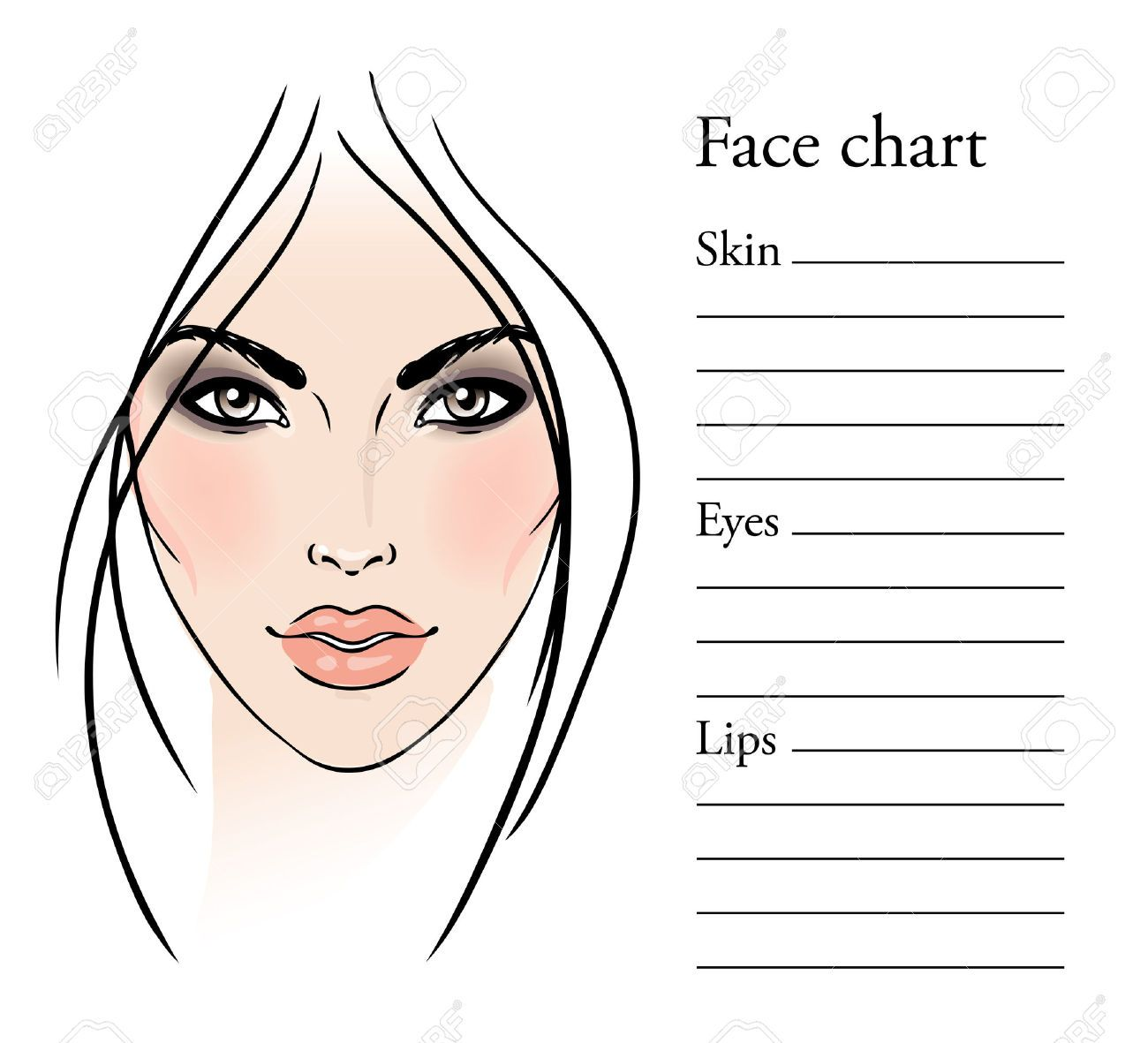 Face templates for makeup artist face chart makeup artist blank face templates for makeup artist face chart makeup artist blank template pronofoot35fo Gallery