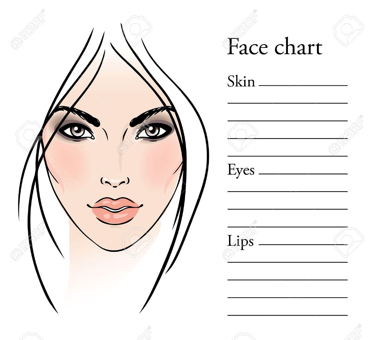 Face Templates For Makeup Artist: Face Chart Makeup Artist Blank Template…